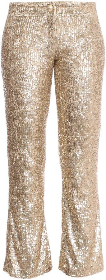 Sequined Straight-Leg Pants