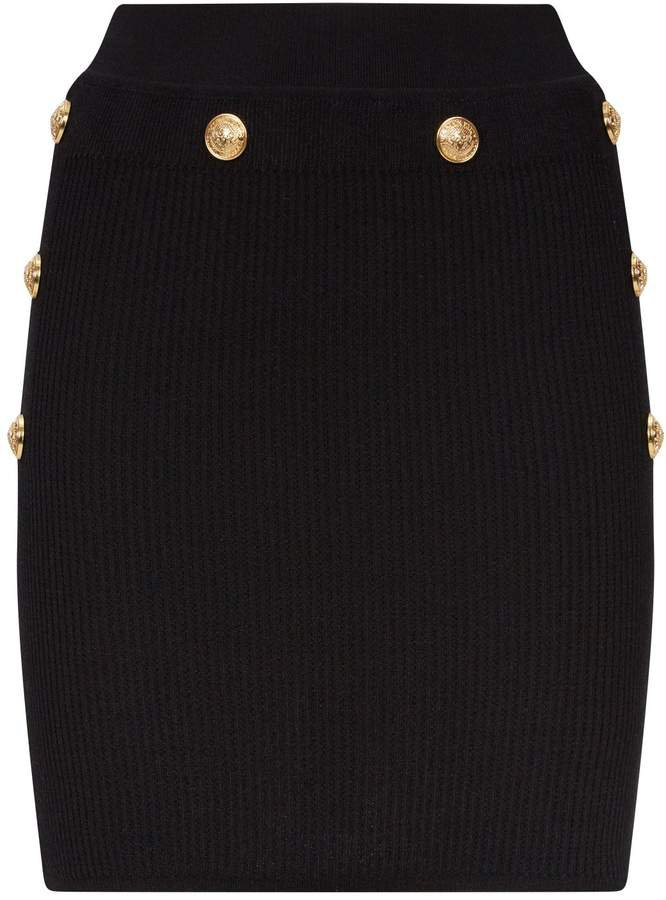 Stretch-Knit Embossed Button Skirt