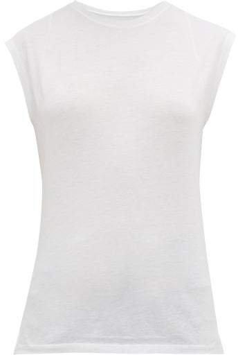 Le Mid Round Neck Cotton Tank Top - Womens - White