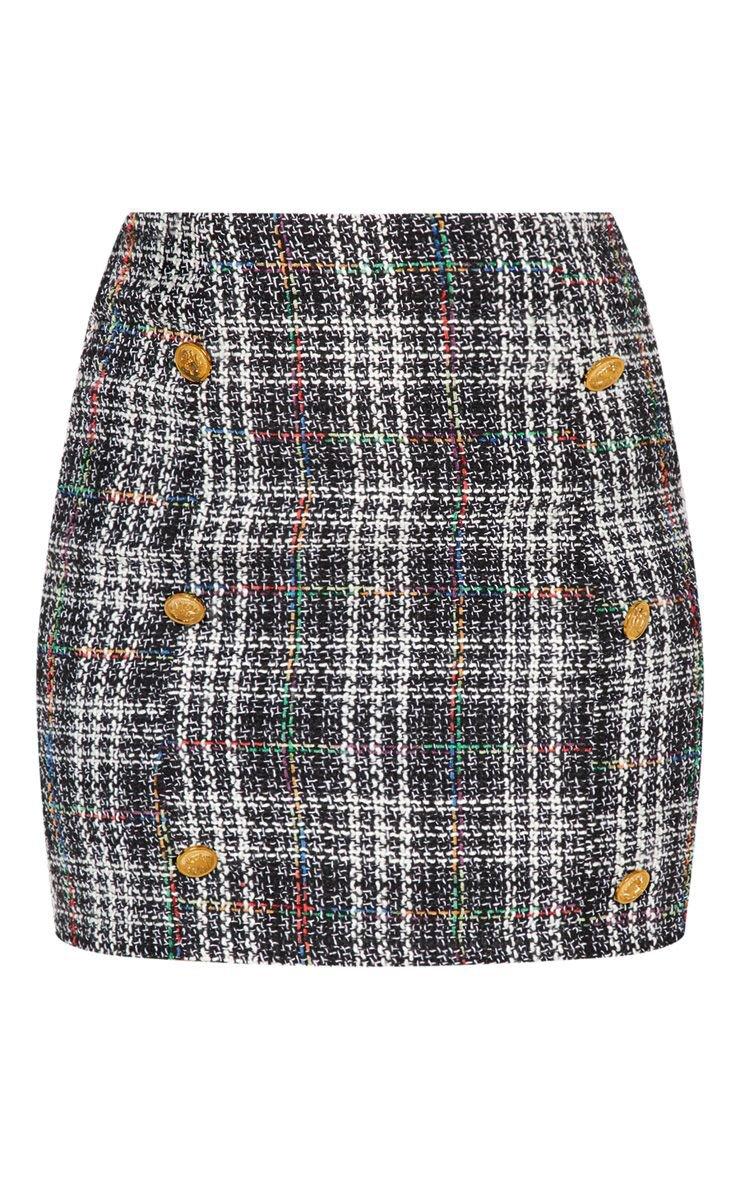 Black Tweed Button Detail Mini Skirt | Skirts | PrettyLittleThing USA