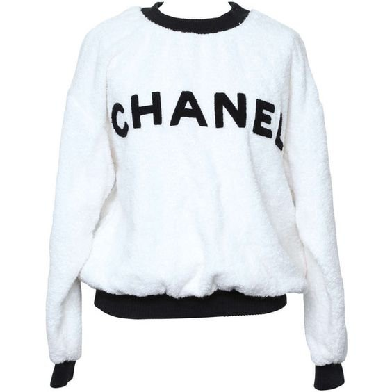 Chanel Black/White Logo Pullover Terry Sweater ($1,800