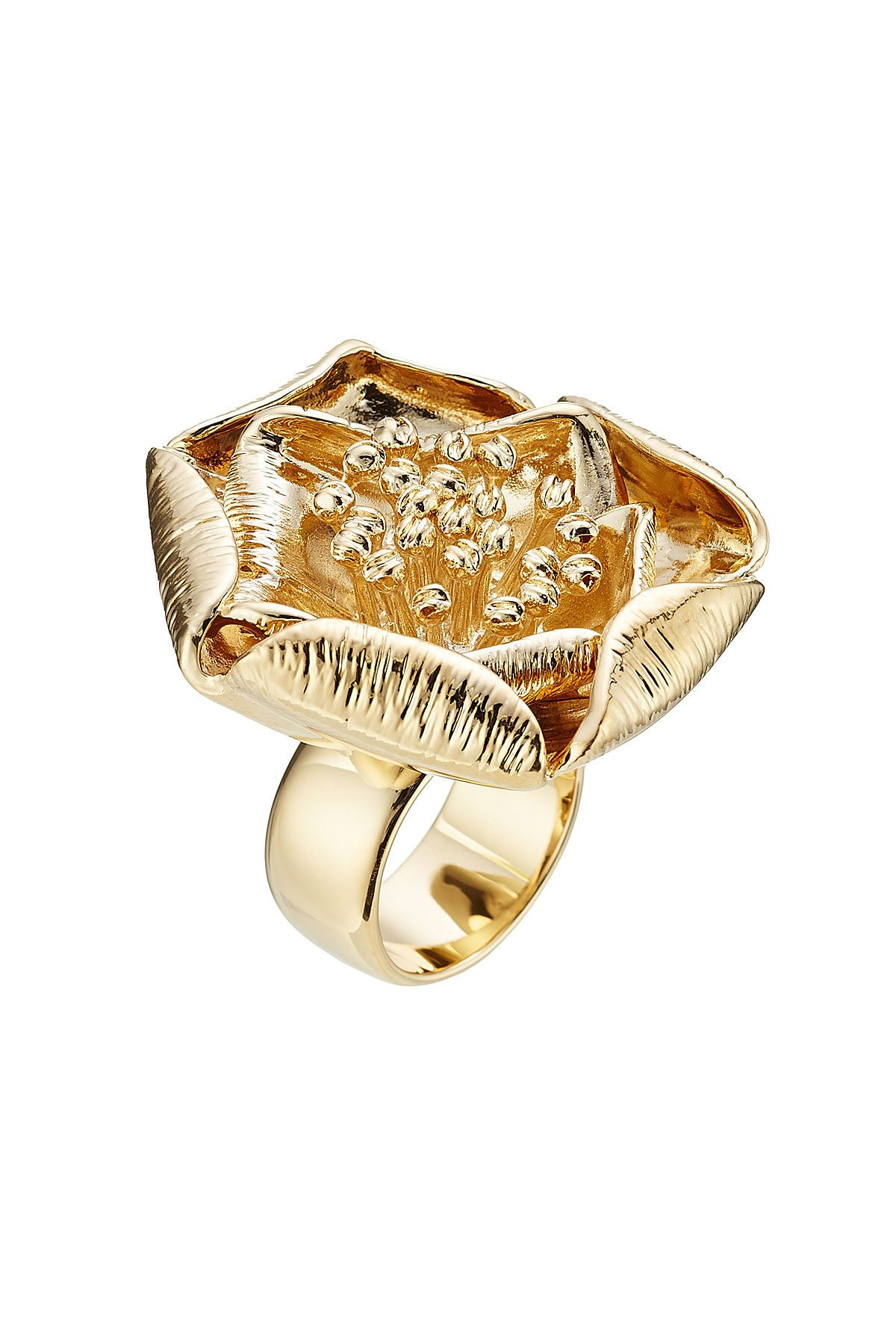 18kt Yellow Gold-Plated Flower Ring Gr. One Size