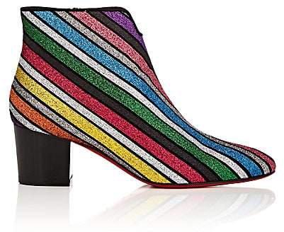 Women's Disco 70s Glitter-Striped Ankle Boots