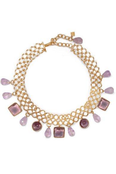 Loulou de la Falaise | Gold-plated, amethyst and glass choker | NET-A-PORTER.COM