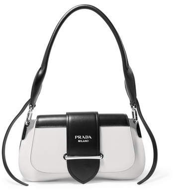 Sidonie Two-tone Leather Shoulder Bag - White