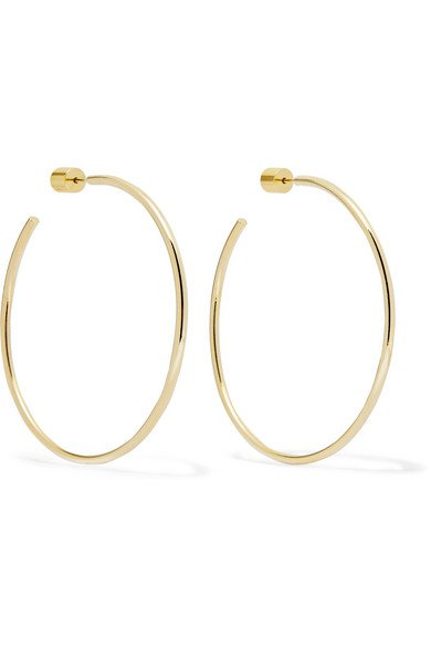 "Jennifer Fisher | 2"" Thread gold-plated hoop earrings 