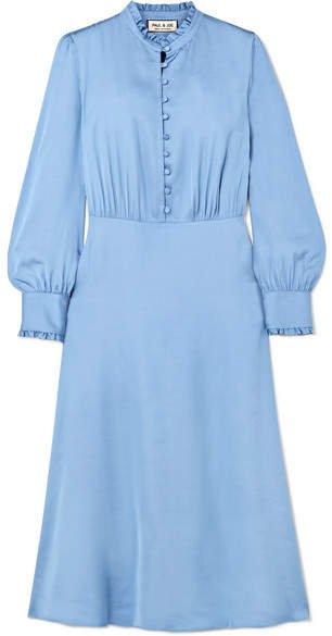 Ruffle-trimmed Satin Midi Dress - Blue