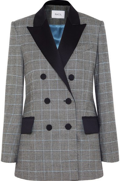 Racil | Audrey satin-trimmed houndstooth wool blazer | NET-A-PORTER.COM