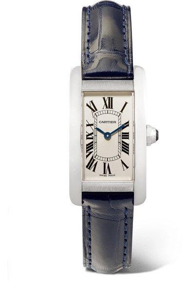 Cartier | Tank Américaine 19mm small stainless steel and alligator watch | NET-A-PORTER.COM