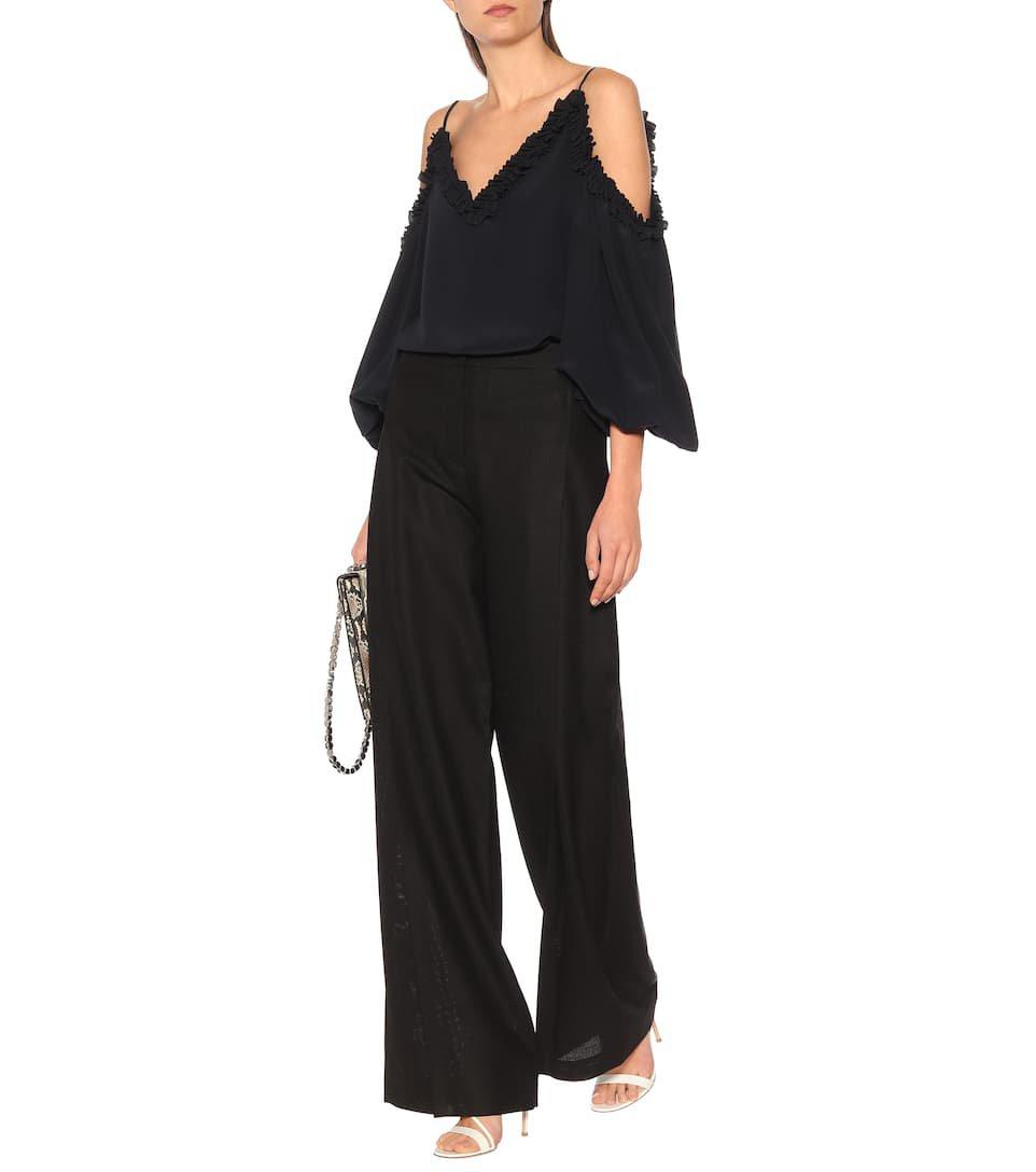 Stella McCartney - Cold-shoulder silk blouse   Mytheresa