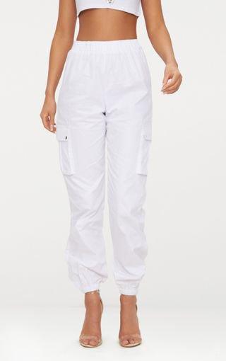 White Pocket Detail Cargo Trousers | PrettyLittleThing