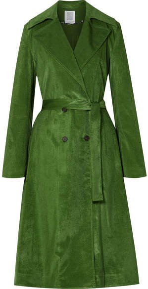 Piano Pleats Cotton-blend Corduroy Trench Coat - Dark green