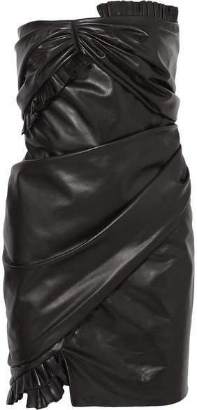 Strapless Ruffled Leather Mini Dress - Black