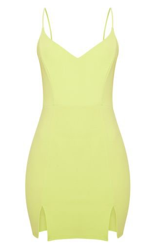 Neon Lime Panelled Double Split Bodycon Dress   PrettyLittleThing