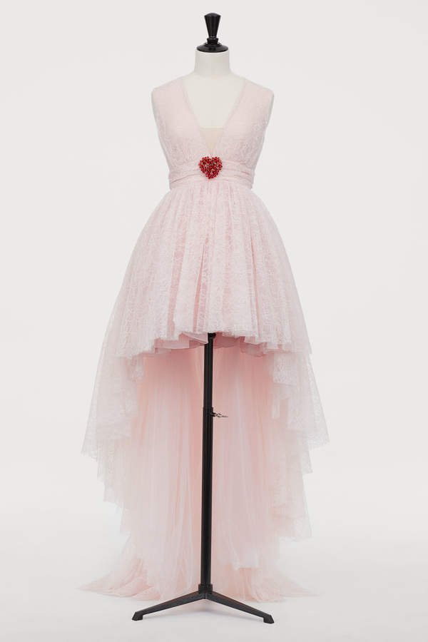Lace Dress with Train - Pink