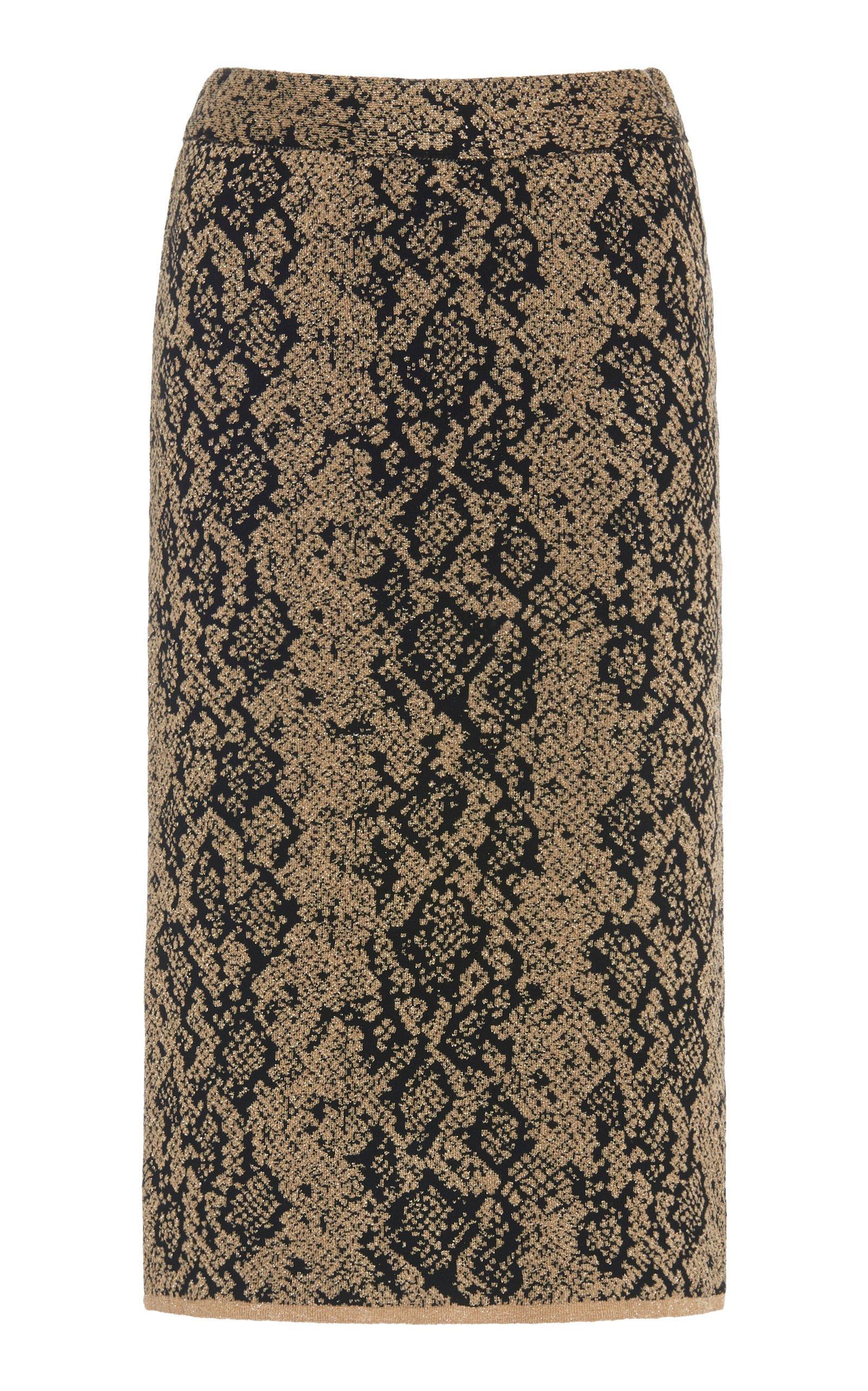 Dundas Printed Jersey Pencil Skirt Size: 48