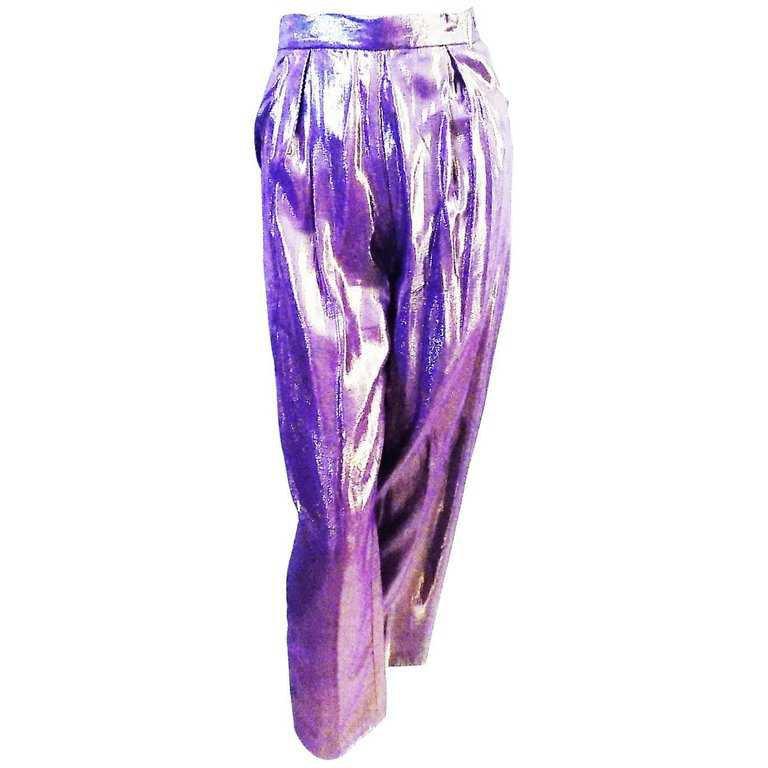 Giorgio Sant Angelo vintage lame purple pants disco era 70 For Sale at 1stdibs