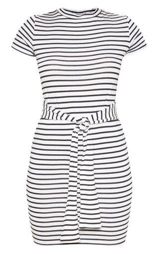 White Stripe Tie Waist T Shirt Dress | PrettyLittleThing USA