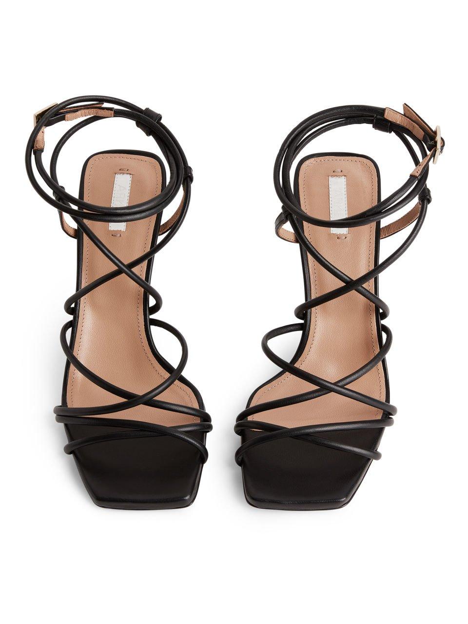 High-Heel Leather Strap Sandal - Black - Shoes - ARKET SE