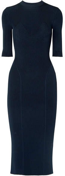 Ribbed Stretch-knit Midi Dress - Navy