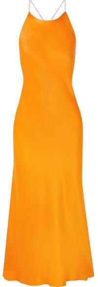 Open-back Satin Midi Dress - Orange