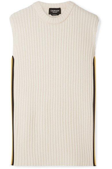 CALVIN KLEIN 205W39NYC | Striped wool-blend tank | NET-A-PORTER.COM