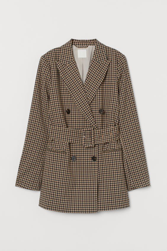 Double-breasted Belted Jacket - Beige/checked - Ladies | H&M US