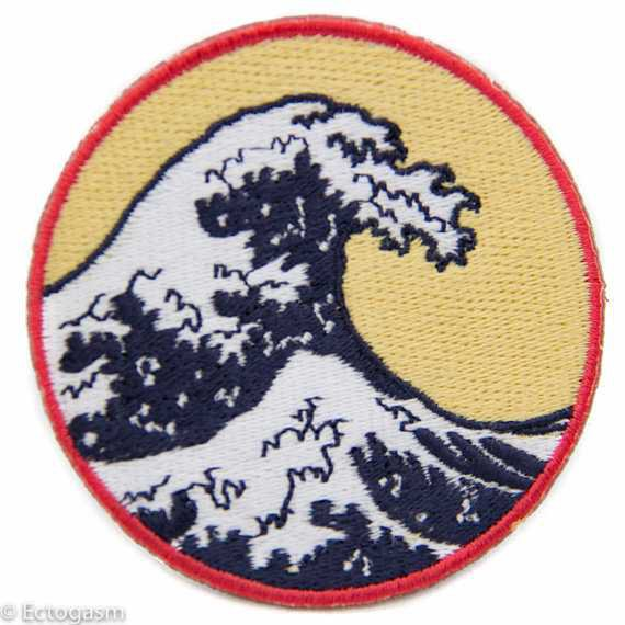 Great Wave Iron On Patch Embroidered Circular 2.75 Beach