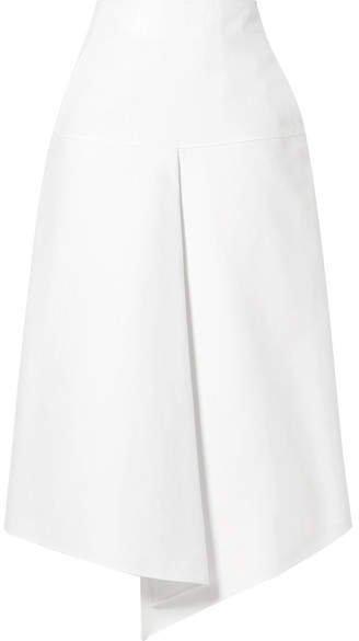 Asymmetric Compact Cotton Midi Skirt - White