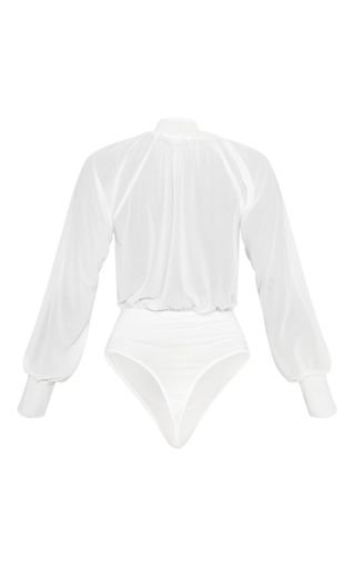 White Sheer Loose Tie Bodysuit | Tops | PrettyLittleThing