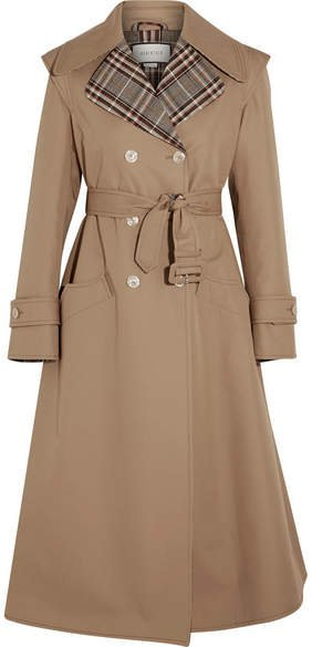 Appliquéd Cotton-blend Gabardine Trench Coat - Sand