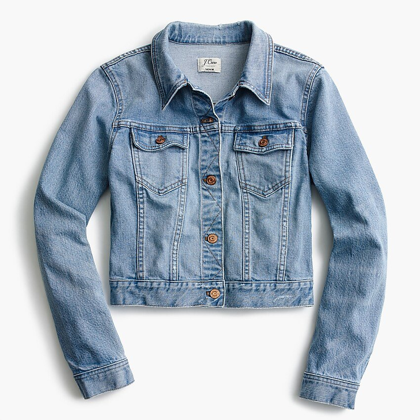 J.Crew: Petite Cropped Denim Jacket In Cavanal Wash