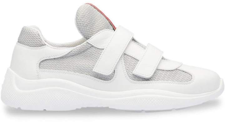 mesh panel touch strap sneakers