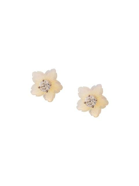 Irene Neuwirth 18kt Rose And White Gold One-Of-A-Kind Opal And Diamond Flower Stud Earrings