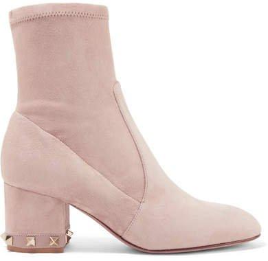 Garavani The Rockstud Leather-trimmed Suede Ankle Boots - Blush