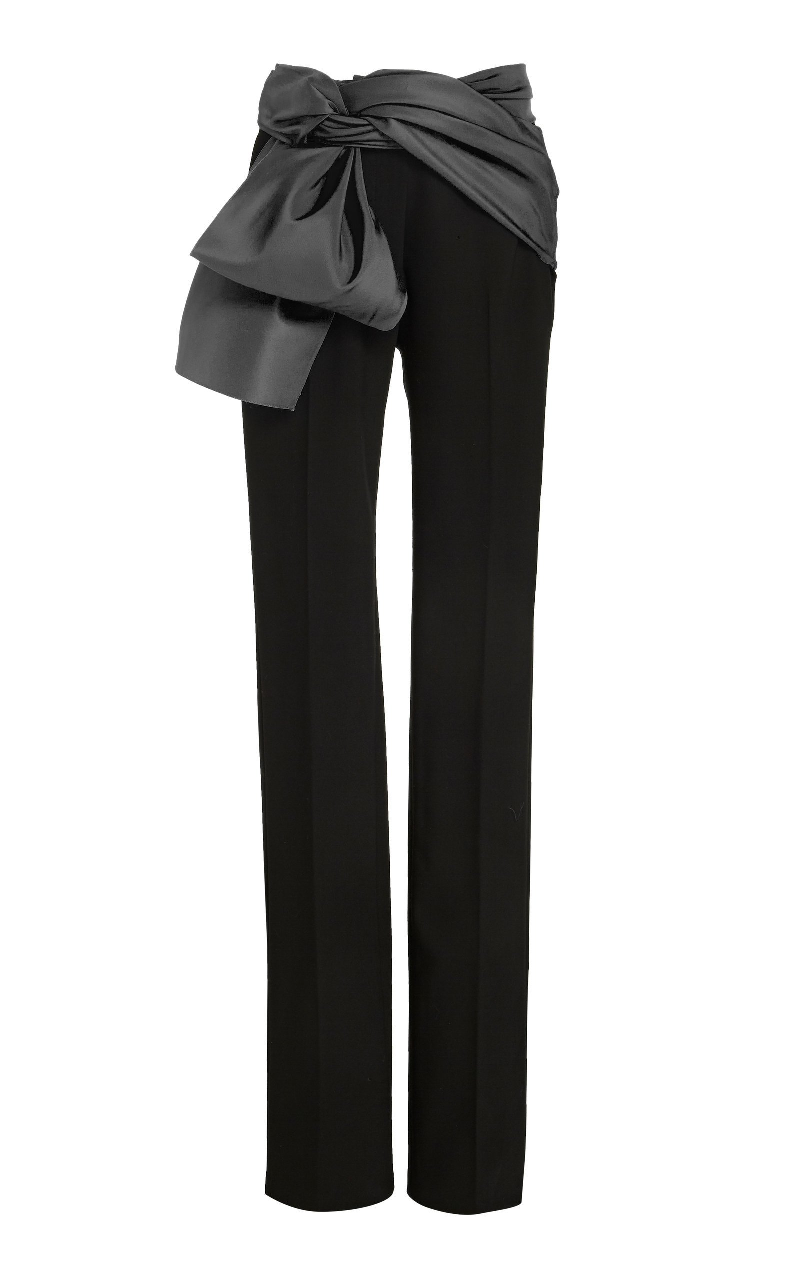 Carolina Herrera Satin-Trimmed Crepe Straight-Leg Pants Size: 10