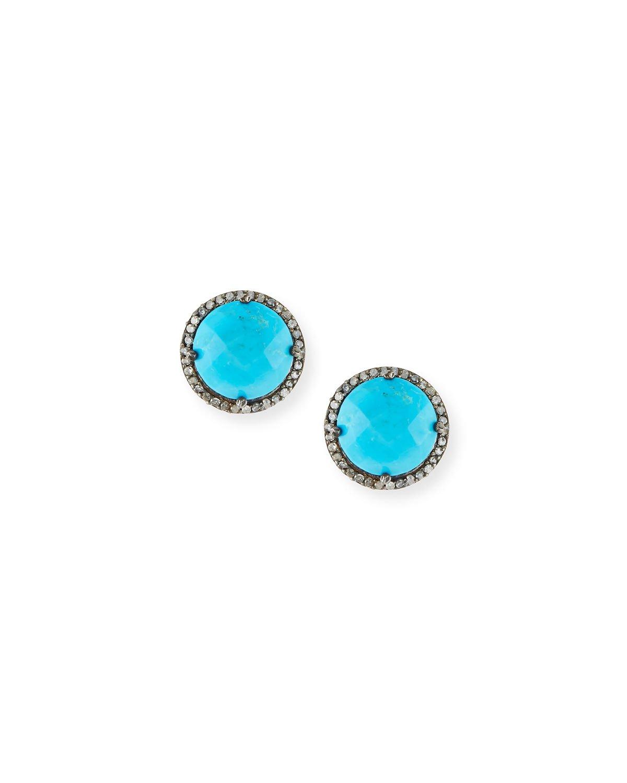 Margo Morrison Faceted Stone & Diamond Button Stud Earrings | Neiman Marcus