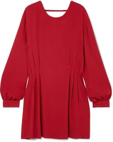 Broken Oversized Open-back Crepe Mini Dress - Red