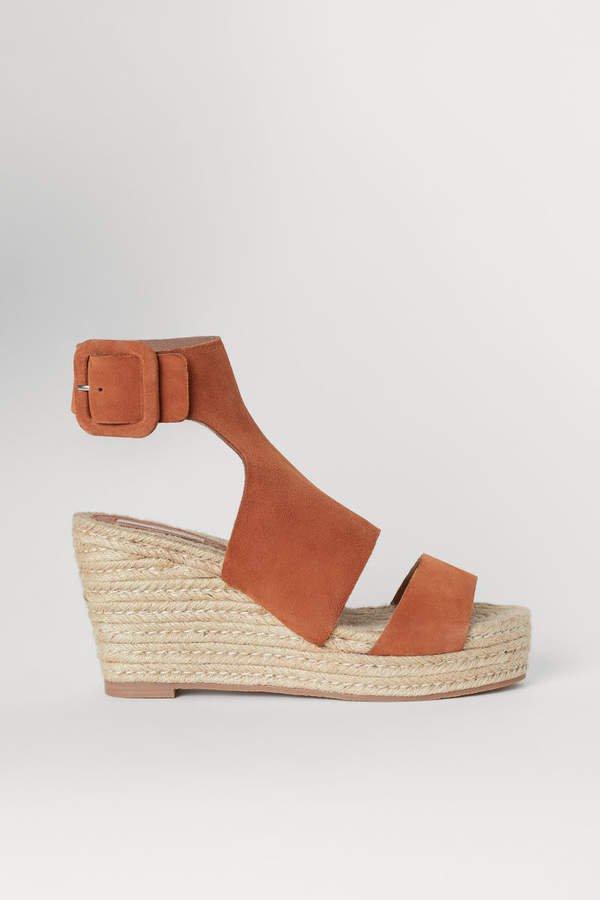 Wedge-heel Sandals - Orange