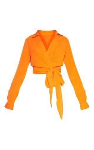 Petite Orange Tie Waist Blouse | Petite | PrettyLittleThing