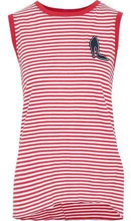 Appliqued Striped Cotton-jersey Tank