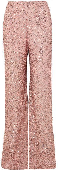 Sequined Chiffon Wide-leg Pants - Blush