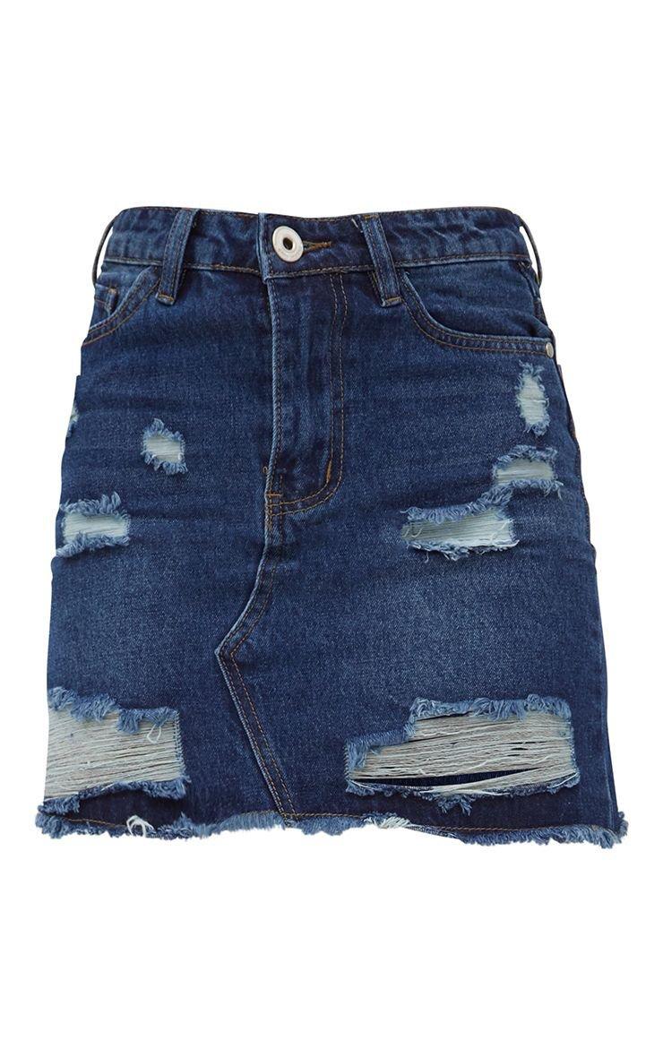 Khaki Distressed Rip Denim Mini Skirt   Denim   PrettyLittleThing USA