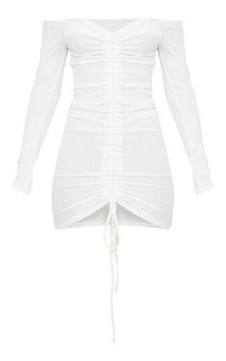 White Ribbed Long Sleeve Bardot Ruched Bodycon Dress   PrettyLittleThing
