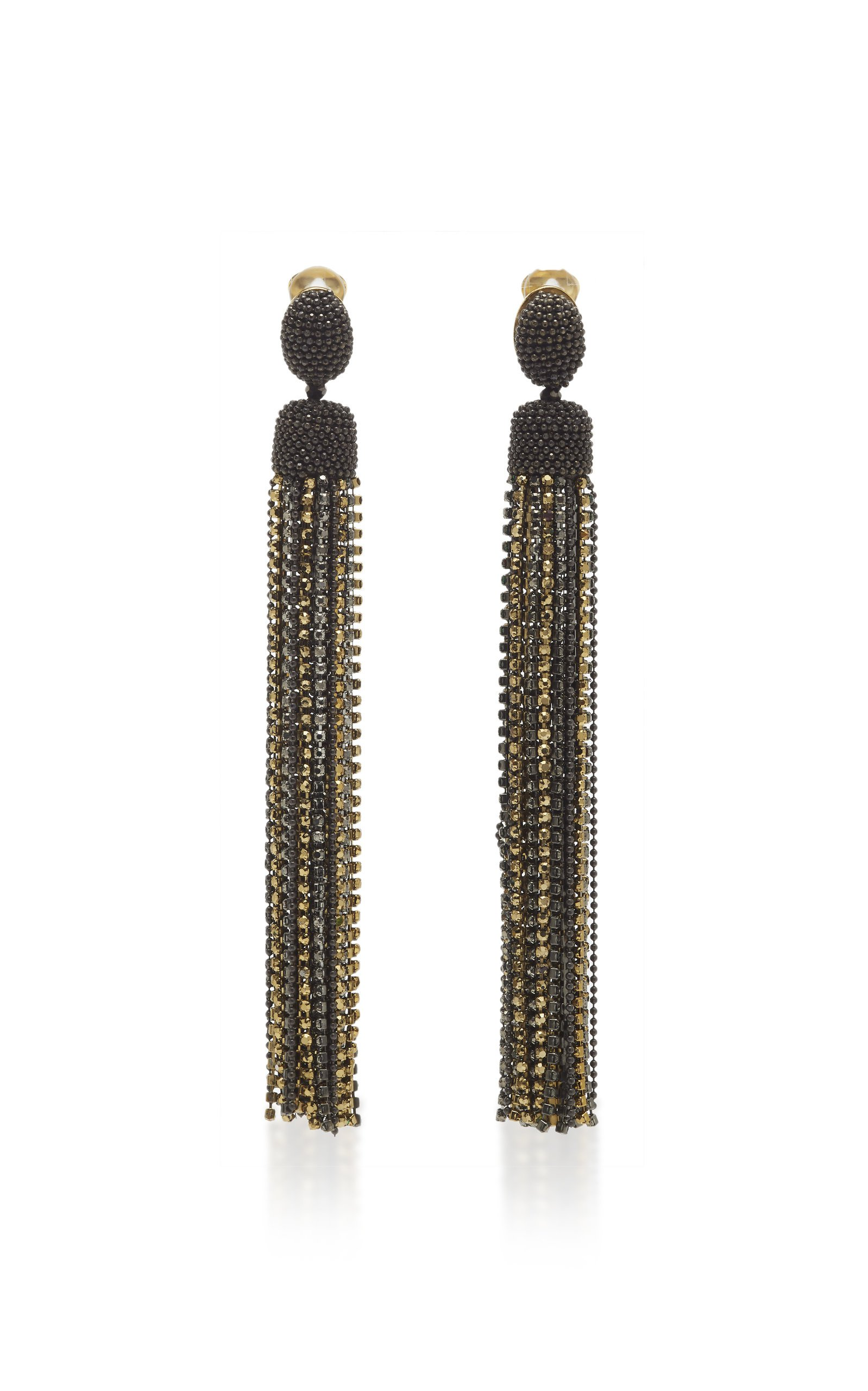 Crystal-Embellished Tassel Earrings by Oscar de la Renta | Moda Operandi