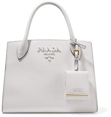 Textured-leather Tote - White
