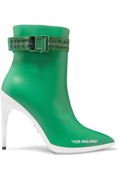 Off-White | For Walking logo-jacquard printed leather ankle boots | NET-A-PORTER.COM