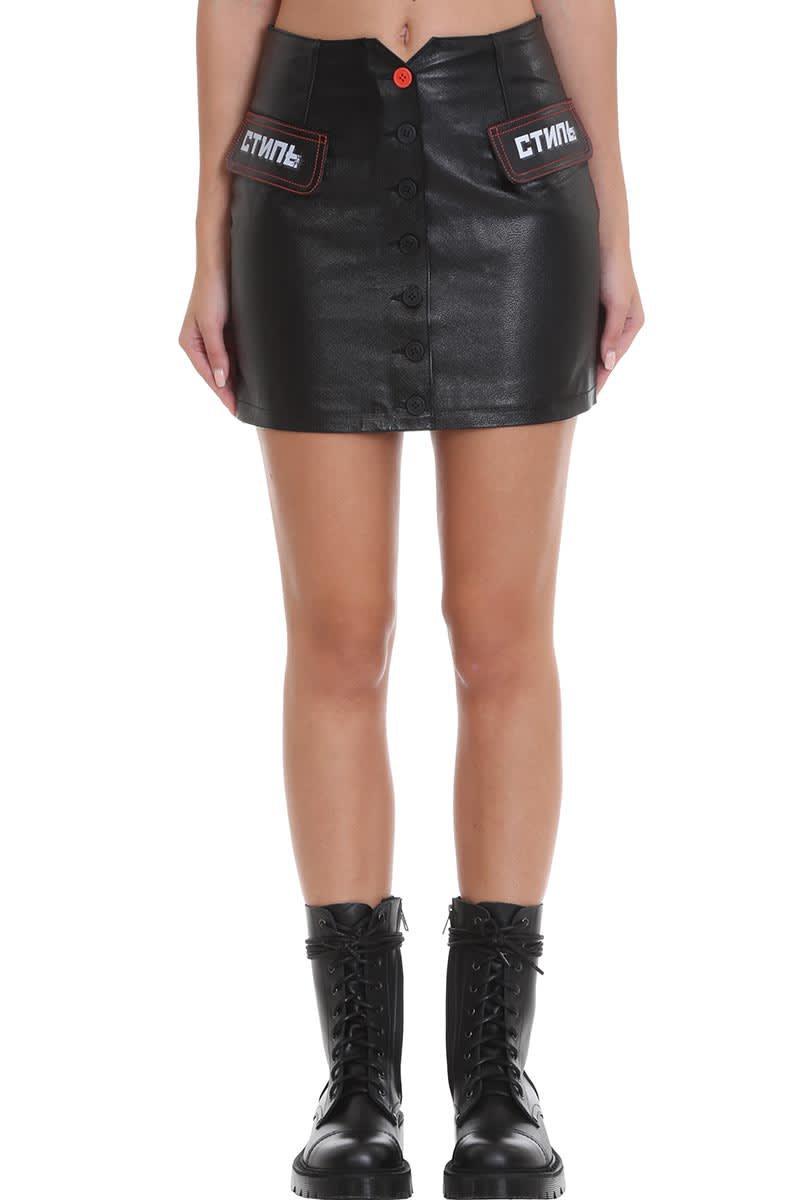 HERON PRESTON Mini Skirt Skirt In Black Leather