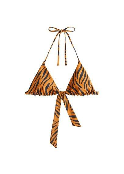 MANGO Animal print bikini top
