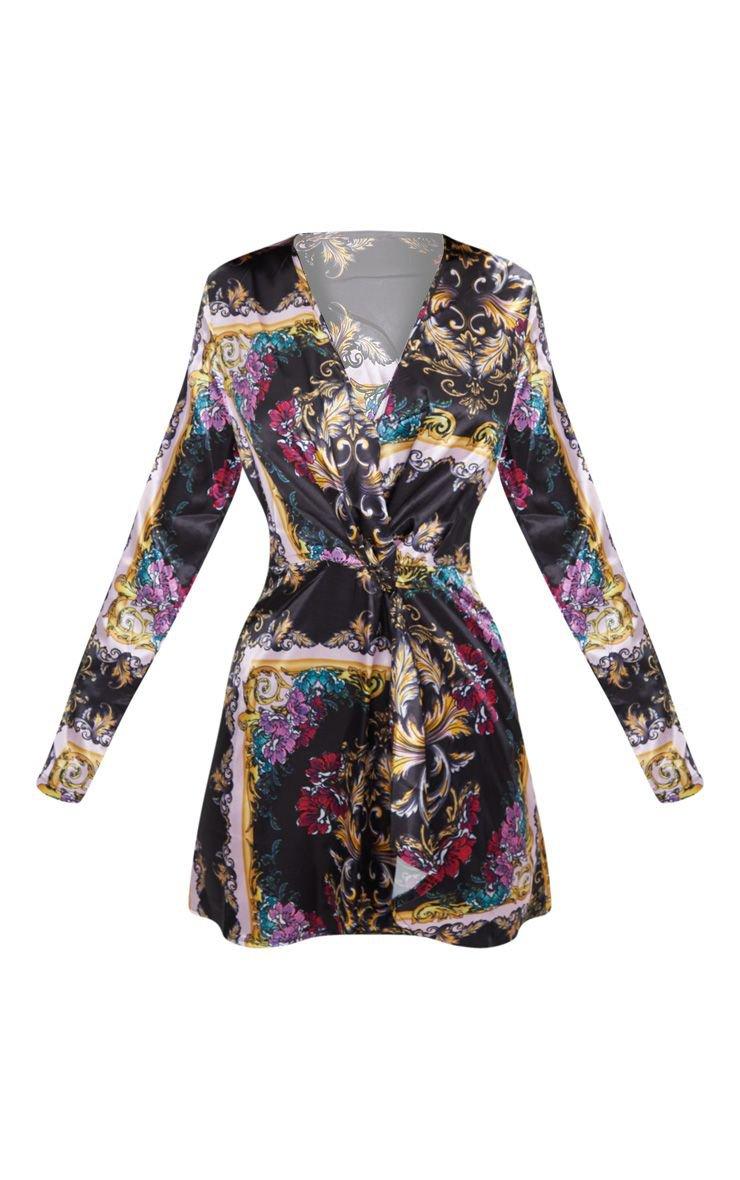 Pink Scarf Print Long Sleeve Wrap Dress   PrettyLittleThing USA